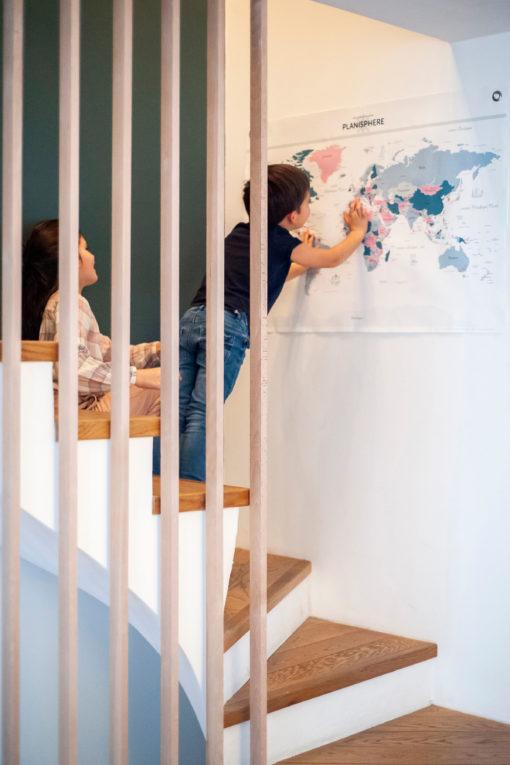 Planisphère, une carte du monde imprimée sur toile de coton