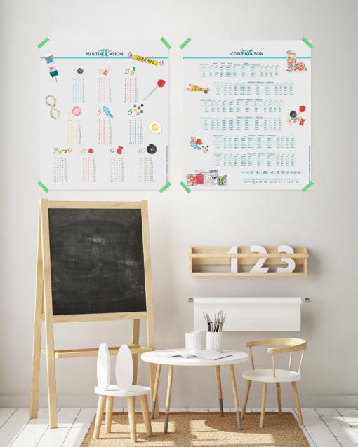 Les affiches pédagogiques et décoratives Conjugaison et Multiplication décorent une chambre d'enfant, et se marient parfaitement à un univers déco scandinave.