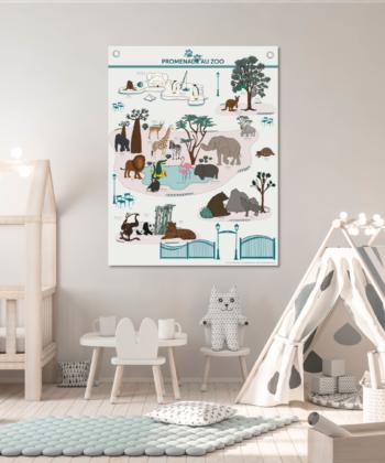 Affiche sur toile Promenade au Zoo, les animaux du zoo illustrés