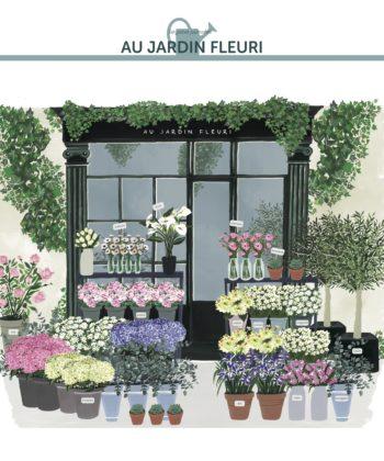 L'affiche Au Jardin Fleuri, une belle devanture de boutique illustrée avec lumière et poésie
