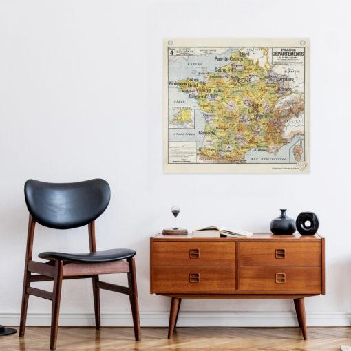 Affiche de la mythique Carte de France des départements, illustrée par P.Vidal-Lablache, éditée par Les Jolies Planches