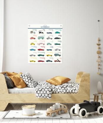 L'affiche Automobiles présente de belles illustrations colorées de voitures mythiques de l'Histoire de l'automobile. Impression d'art sur toile polycoton. En décoration d'une chambre d'enfant, elle se marie parfaitement avec un style épuré scandinave !