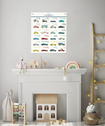 L'affiche Automobiles présente de belles illustrations colorées de voitures mythiques de l'Histoire de l'automobile. Impression d'art sur toile polycoton.
