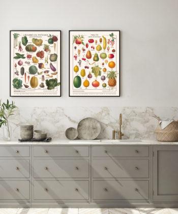 Les affiches Fruits & Légumes sont imprimées sur toile polycoton waterproof, avec encres écologiques, chez un imprimeur d'art français, pour un rendu décoratif haut de gamme