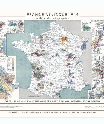 Carte de France Vinicole est imprimée sur toile polycoton waterproof, avec encres écologiques, chez un imprimeur d'art français, pour un rendu décoratif haut de gamme