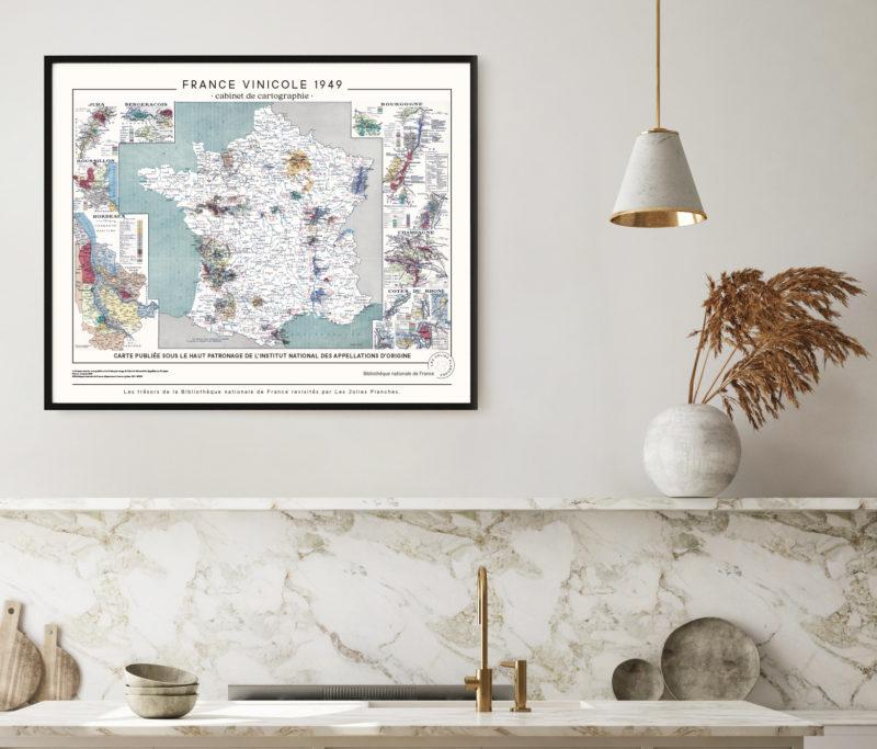 La Carte de France vinicole, une affiche décorative élégante pour la cuisine ou toutes les pièces ou