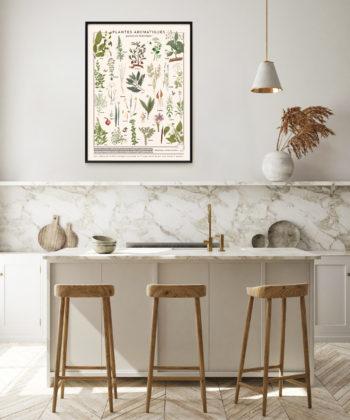 L'affiche Plante aromatiques sur planche polycoton, apporte une note décorative végétale et vintage aux univers les plus contemporains.