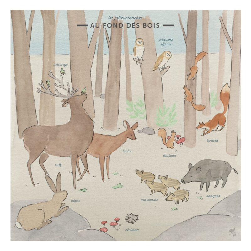 """Affiche carrée """"Au fond des bois"""" : des illustrations délicates aux couleurs douces d'animaux de la forêt."""