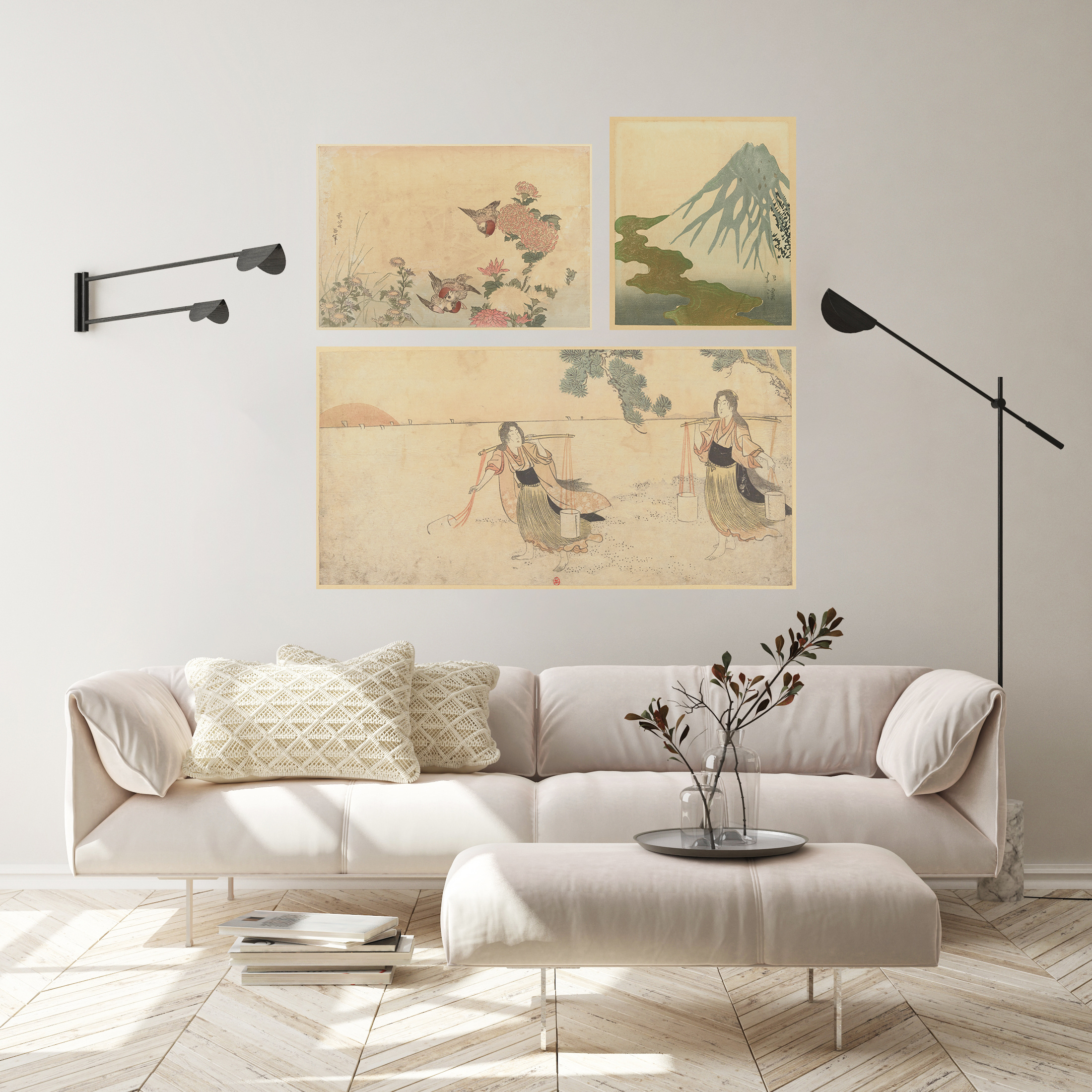 Triptych of Japanese prints, on adhesive canvas placed on the wall of a bright contemporary living room.