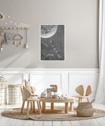 affiche reproduction gravure Jules Verne fusée vers la Lune