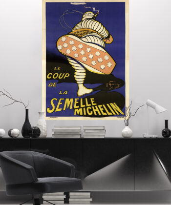 In the sober atmosphere of a modern office, the vintage poster printed on large format adhesive canvas