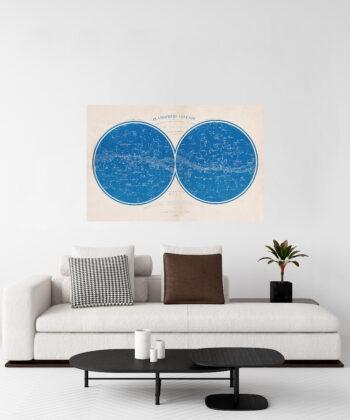 Grande toile adhésive murale : ce planisphère céleste est une impression d'art qui rejoint une décoration contemporaine, un salon épuré et chic.