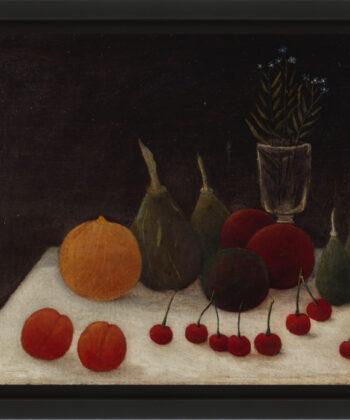 Peinture à l'huile, nature morte aux cerises par le douanier rousseau, musée d'art moderne