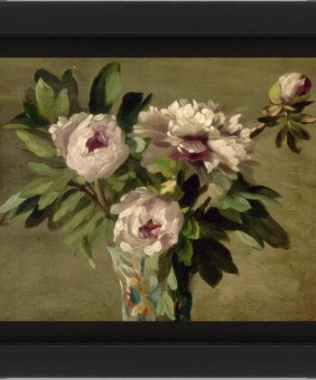 peinture à l'huile bouquet de pivoines blanches par Laurent Ernest Joseph